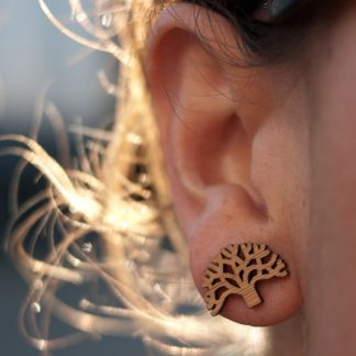 Oakland Earrings - Bamboo Studs on Ear