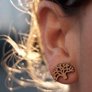 Oakland Earrings - Bamboo Studs on Ear