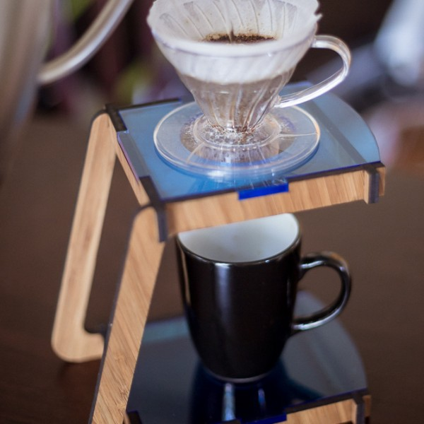 Coffee Pour Over Stand - Bamboo with Blue Accents